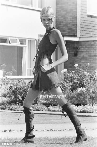 Twiggy, English model, seen in a Hippie gear outfit. Pictured before she left for the New York, America, USA later the same day. Twiggy said of her...