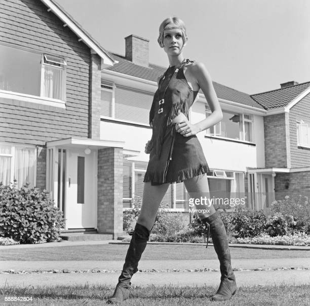 Twiggy English model seen in a Hippie gear outfit Pictured before she left for the New York America USA later the same day Twiggy said of her Hippie...