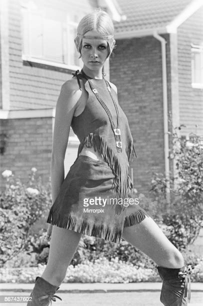 Twiggy, English model, seen in a Hippy gear outfit, 21st August 1979.