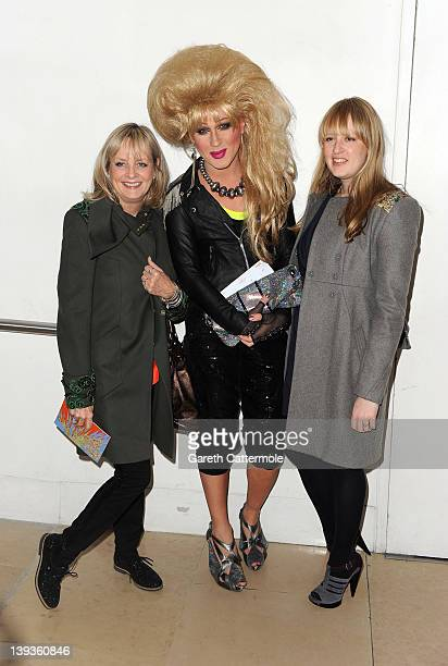 Twiggy Jodie Harsh and Carly Lawson attend the Matthew Williamson show during London Fashion Week Autumn/Winter 2012 at The Royal Opera House on...