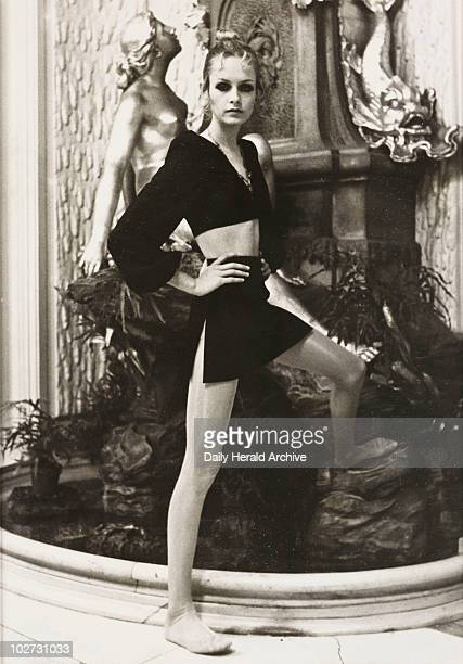 Twiggy launching 'Twiggy Tights' at the Ritz Hotel 1969 A photograph of the model Twiggy real name Lesley Hornby at the Ritz Hotel in London to...