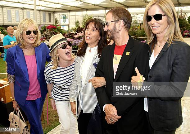 Twiggy, Lulu, Olivia Harrison, Ringo Starr and Barbara Bach poses for a photograph at the Press & VIP preview at The Chelsea Flower Show at Royal...