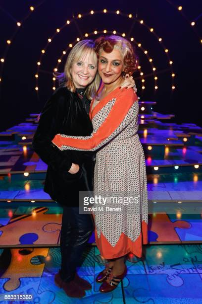 Twiggy poses backstage with Meera Syal at the West End musical of âAnnie' at The Piccadilly Theatre on November 30 2017 in London England