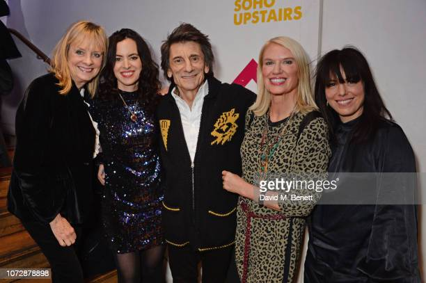 Twiggy Sally Wood Ronnie Wood Anneka Rice and Imelda May attend the Opening Night after party for Chasing Bono at the Soho Theatre on December 13...
