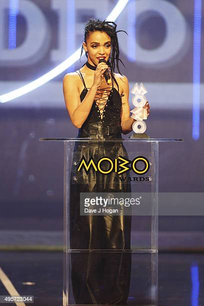 Twigs accepts the award for Best Video during the MOBO Awards at First Direct Arena on November 4, 2015 in Leeds, England.