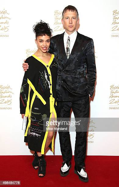 Twigs and Jefferson Hack pose in the Winners Room at the British Fashion Awards 2015 at London Coliseum on November 23, 2015 in London, England.
