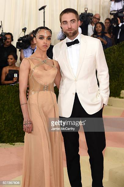 """Twigs and Robert Pattinson attend the """"Manus x Machina: Fashion In An Age Of Technology"""" Costume Institute Gala at Metropolitan Museum of Art on May..."""