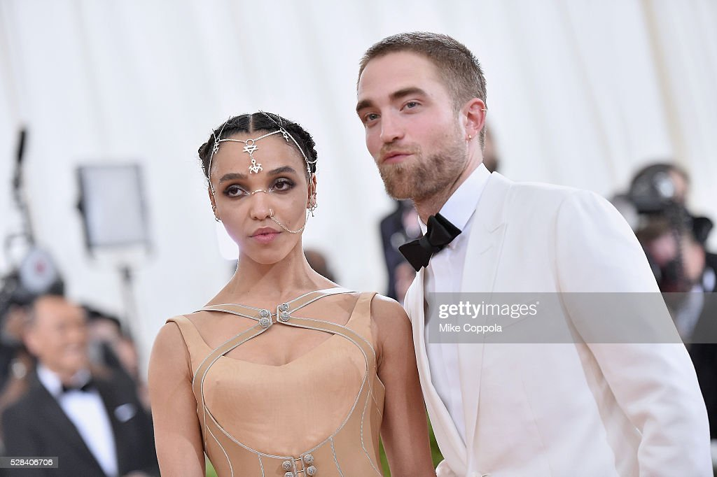 Twigs (L) and Robert Pattinson attend the 'Manus x Machina: Fashion In An Age Of Technology' Costume Institute Gala at Metropolitan Museum of Art on May 2, 2016 in New York City.