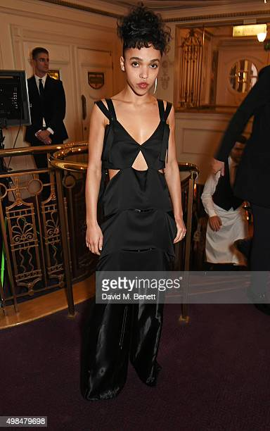 Twigs attends a drinks reception at the British Fashion Awards in partnership with Swarovski at the London Coliseum on November 23, 2015 in London,...