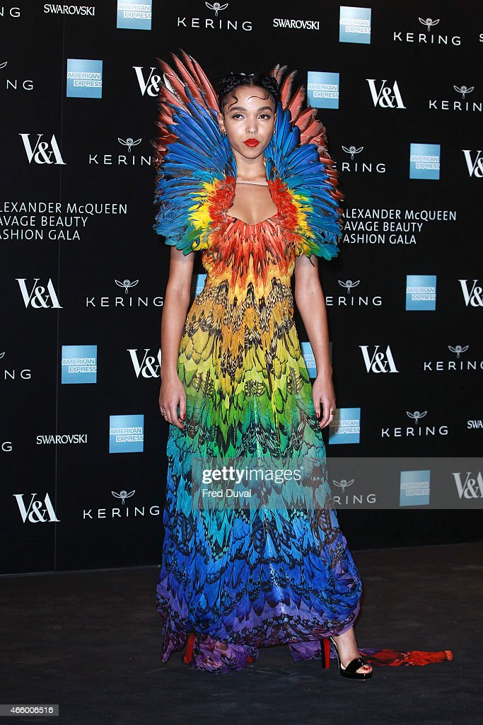 FKA Twigs attends a private view for the 'Alexander McQueen: Savage Beauty' exhibition at Victoria & Albert Museum on March 12, 2015 in London, England.