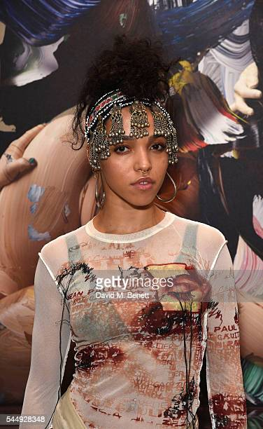 Twigs attends Artist Matthew Stone's new show HEALING WITH WOUNDS at Somerset House on July 4 2016 in London England
