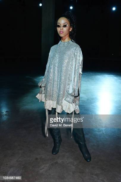 Twigs attends the Christopher Kane front row during London Fashion Week September 2018 at the Tate Modern on September 17 2018 in London England