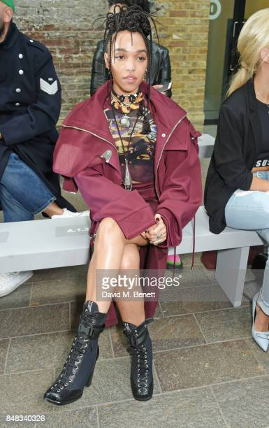 Twigs attends the Versus SS18 catwalk show during London Fashion Week September 2017 at Central St Martins on September 17 2017 in London England