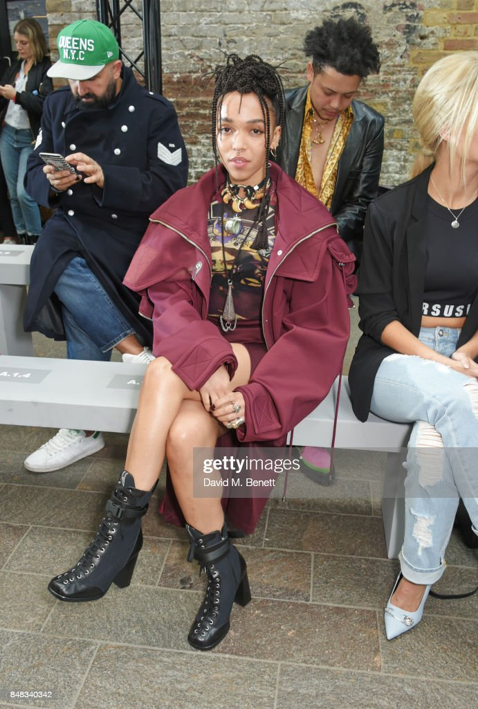 Twigs attends the Versus SS18 catwalk show during London Fashion Week September 2017 at Central St Martins on September 17, 2017 in London, England.