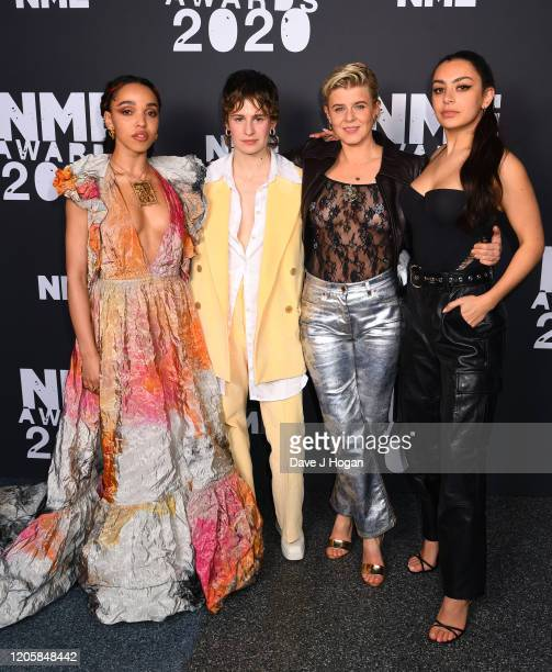 FKA twigs Christine and the Queens Robyn and Charli XCX pose in the winners room at the NME Awards 2020 at O2 Academy Brixton on February 12 2020 in...