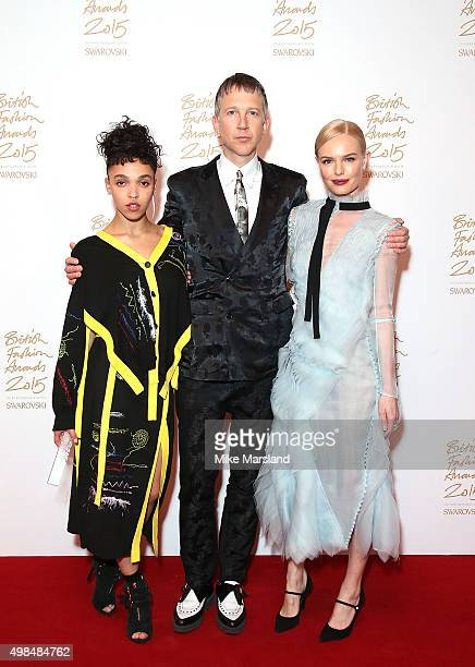 Twigs, Jefferson Hack and Kate Bosworth pose in the Winners Room at the British Fashion Awards 2015 at London Coliseum on November 23, 2015 in...