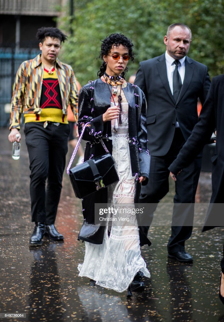 FKA Twigs outside Christopher Kane during London Fashion Week September 2017 on September 18, 2017 in London, England.