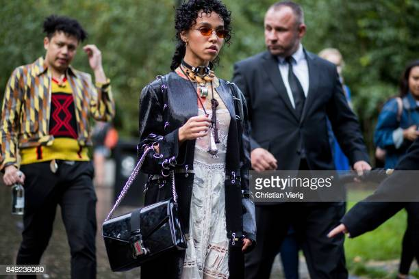 Twigs outside Christopher Kane during London Fashion Week September 2017 on September 18 2017 in London England