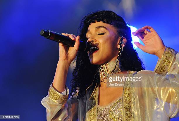 Twigs performs live on the West Holts stage during the third day of Glastonbury Festival at Worthy Farm Pilton on June 28 2015 in Glastonbury England