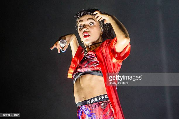 Twigs performs on stage at the Lollapalooza music festival at Grant Park on August 2 2015 in Chicago Illinois