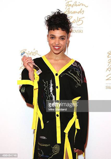 Twigs poses in the Winners Room at the British Fashion Awards 2015 at London Coliseum on November 23, 2015 in London, England.