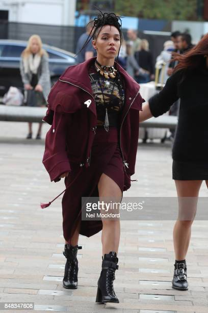 Twigs seen at VERSUS at Central Saint Martins during London Fashion Week September 2017 on September 17 2017 in London England