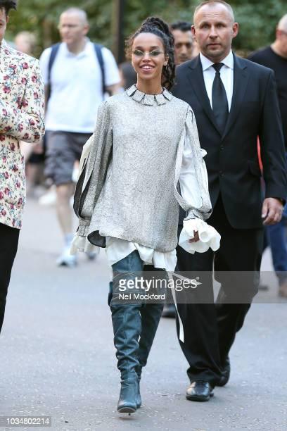 Twigs seen attending Christopher Kane at Tate Modern during London Fashion Week September 2018 on September 17, 2018 in London, England.