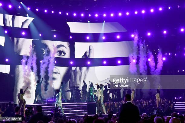 Twigs, Sheila E. And Usher perform in tribute to Prince onstage during the 62nd Annual GRAMMY Awards at Staples Center on January 26, 2020 in Los...