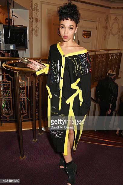 Twigs, winner of the British Style ? Fashion Innovator award, attends the British Fashion Awards in partnership with Swarovski at the London Coliseum...