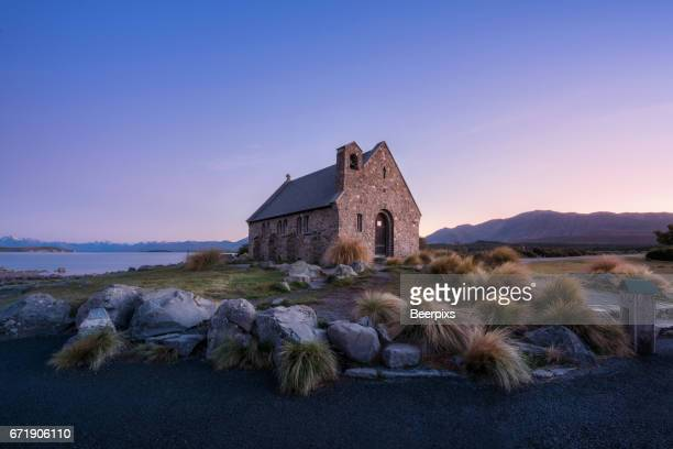 Twilight at Church of the Good Shepherd, Lake Tekapo in New Zealand.