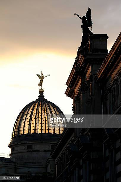 Twilight descends on the Albertinum museum and the dome of the Akademie der Kuenste on June 7 2010 in Dresden Germany The Albertinum which will...