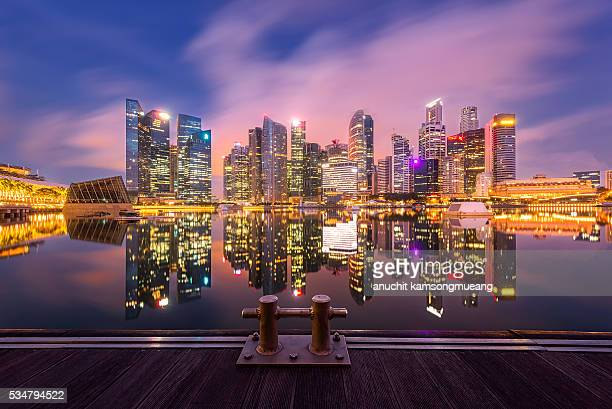 Twilight Downtown Singapore city