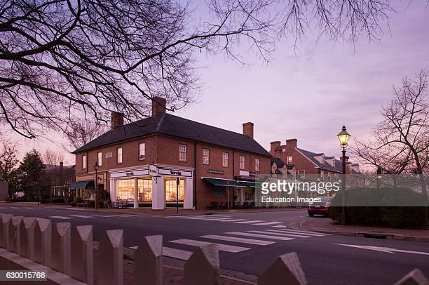 Twilight exterior of downtown Williamsburg Inn Fife Drum Inn Williamsburg VA