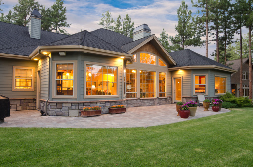 Twilight exterior of home and landscape 168325352