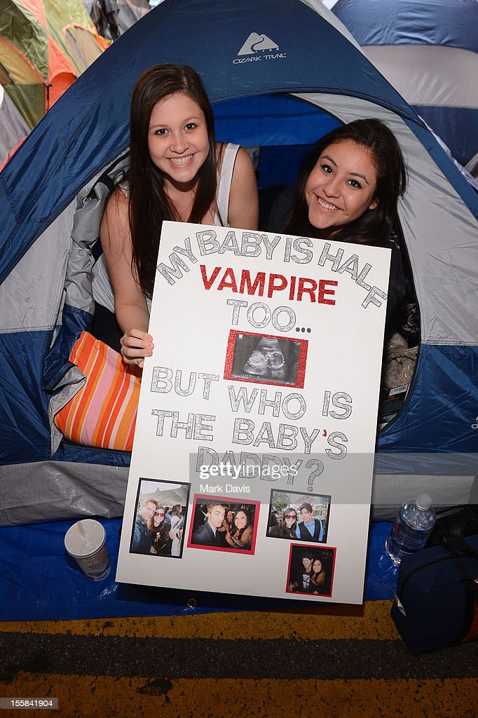Twilight fans pose during the 'Twilight Saga: Breaking Dawn Part 2' Fan Camp held at L.A. LIVE on November 8, 2012 in Los Angeles, California.
