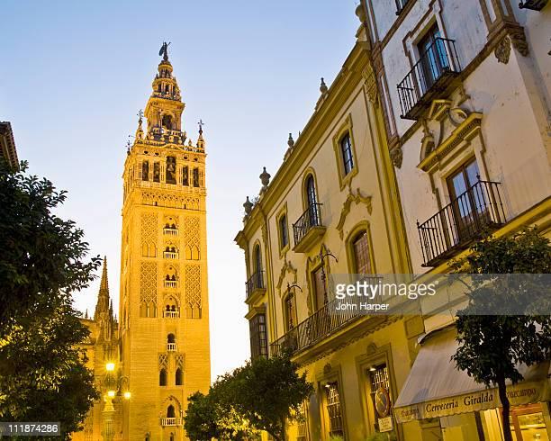 twilight, giralda tower, seville, andalucia, spain - la giralda fotografías e imágenes de stock