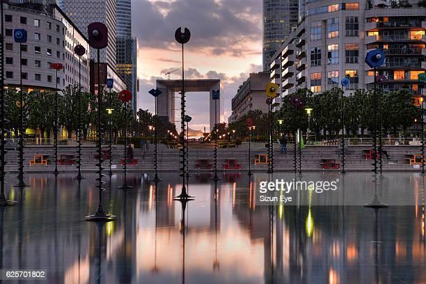 Twilight in La Défense, a business district of Paris, France.