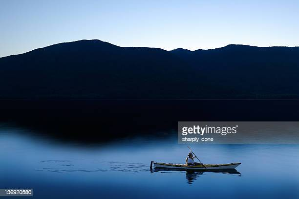 xxl twilight kayaker - kayak stock pictures, royalty-free photos & images