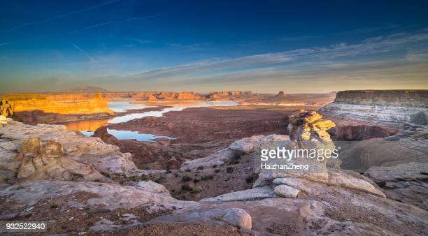 twilight landscape above lake powell - lake powell stock pictures, royalty-free photos & images