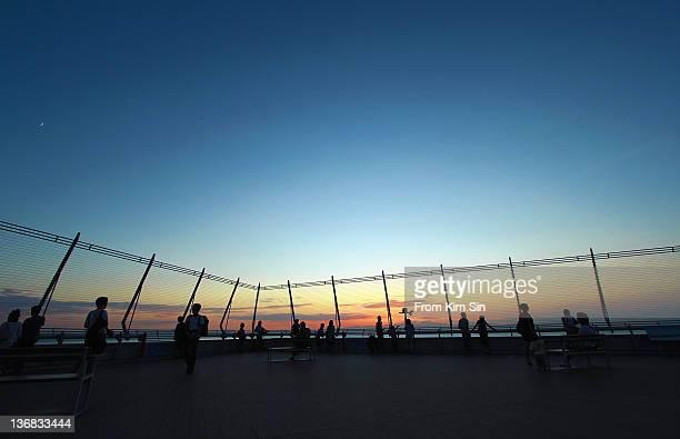 twilight of central airport - 中部地方 ストックフォトと画像
