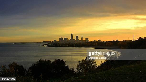 Twilight on Cleveland skyline