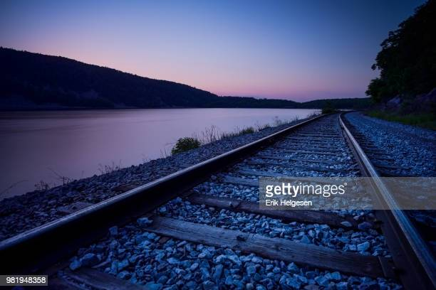 twilight on the tracks, wisconsin, 2014 - vilas_county,_wisconsin stock pictures, royalty-free photos & images