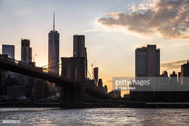 twilight over new york city and the one world trade center - didier marti stock photos and pictures