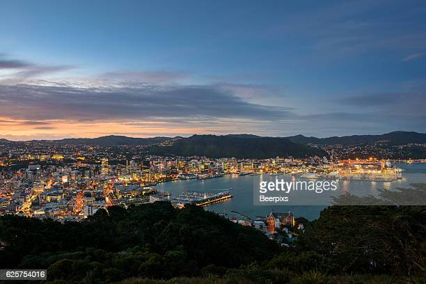 twilight over wellington at night, new zealand. - wellington new zealand stock photos and pictures