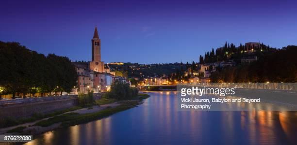 Twilight Panorama of Santa Anastasia and the Adige River in Verona, Italy