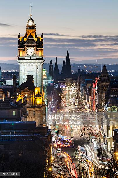 twilight, princes street, - clock tower stock pictures, royalty-free photos & images