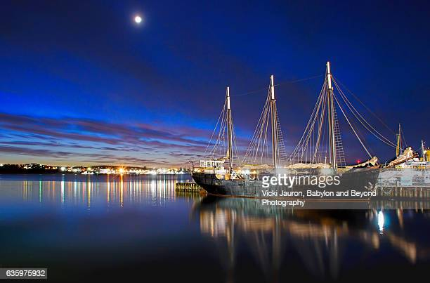 Twilight, Ship and Moon in Halifax Harbour, Nova Scotia, Canada