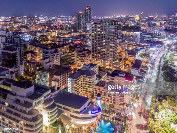 twilight Skyline of Pattaya from aerial view, Pattaya city, Chonburi, Thailand.