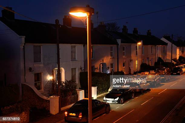 twilight street - night stock pictures, royalty-free photos & images