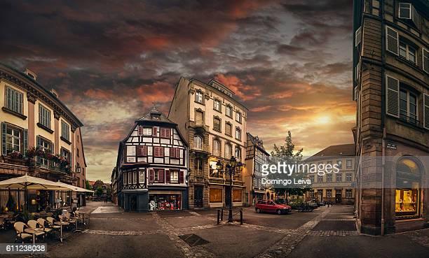 Twilight street scene in Colmar, France
